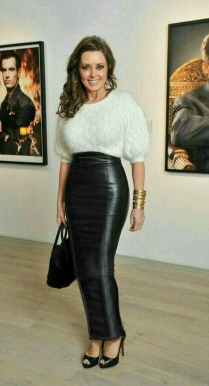 12a13e486 Carol Vorderman wearing a long black leather hobble skirt   clothes ...
