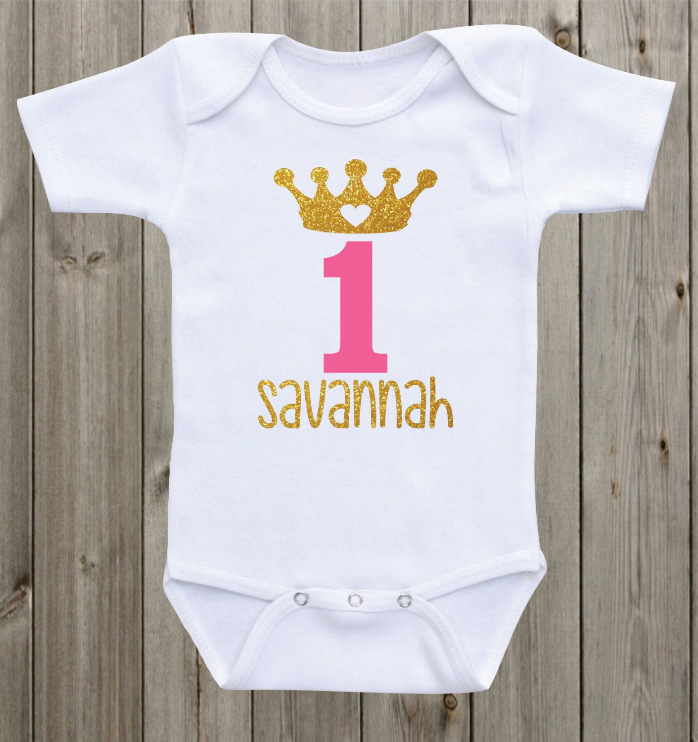 e year old princess Personalized baby girl outfit Baby s first