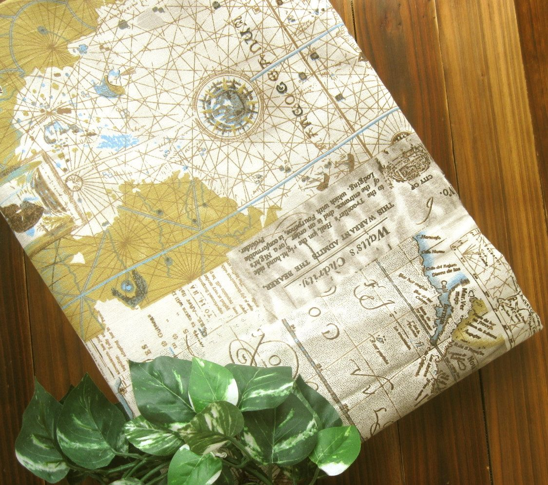 Cotton linen fabric cloth beige brown old world globe nautical map cotton linen fabric cloth beige brown old world globe nautical map marine ship typos words gumiabroncs Gallery