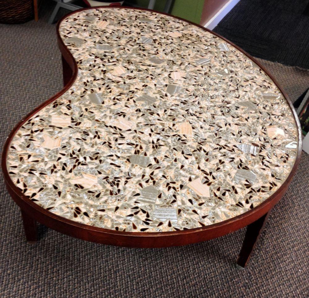 Vintage Mid Century Modern Kidney Bean Shape Coffee Table Mosaic Tiles Abstract Mosaic Tiles Vintage Mid Century Coffee Table [ 965 x 1000 Pixel ]