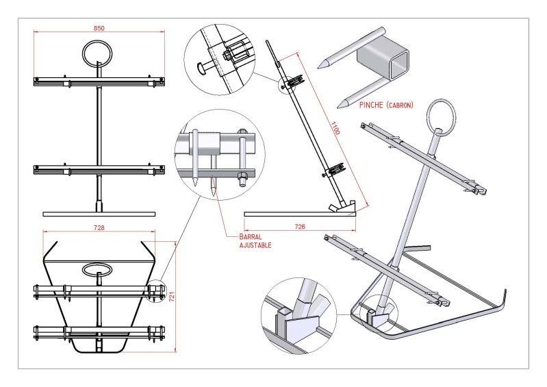 Plano Parrilla a la Estaca, formato asador Las estacas, Estacas y