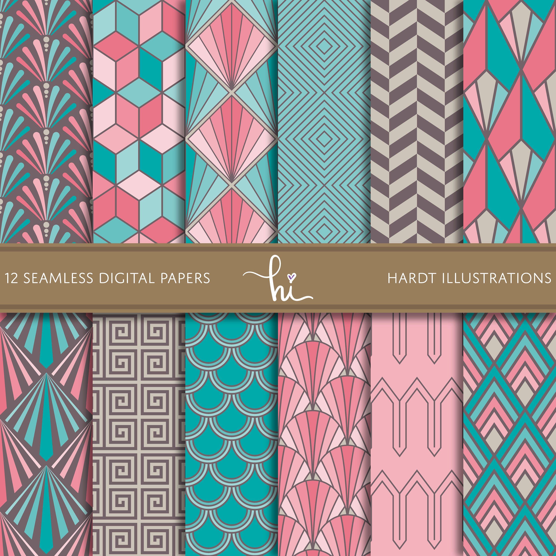 Colorful Vintage Art Deco Digital Paper Geometric Design Etsy In 2020 Geometric Design Art Digital Paper Cute Scrapbooks