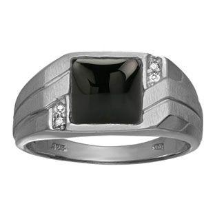 Sterling Silver Diamond /& Onyx Square Black Rhodium-plated Mens Ring
