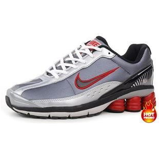 Mens Nike Shox R6 Grey Silver Red Lether  ebb815788