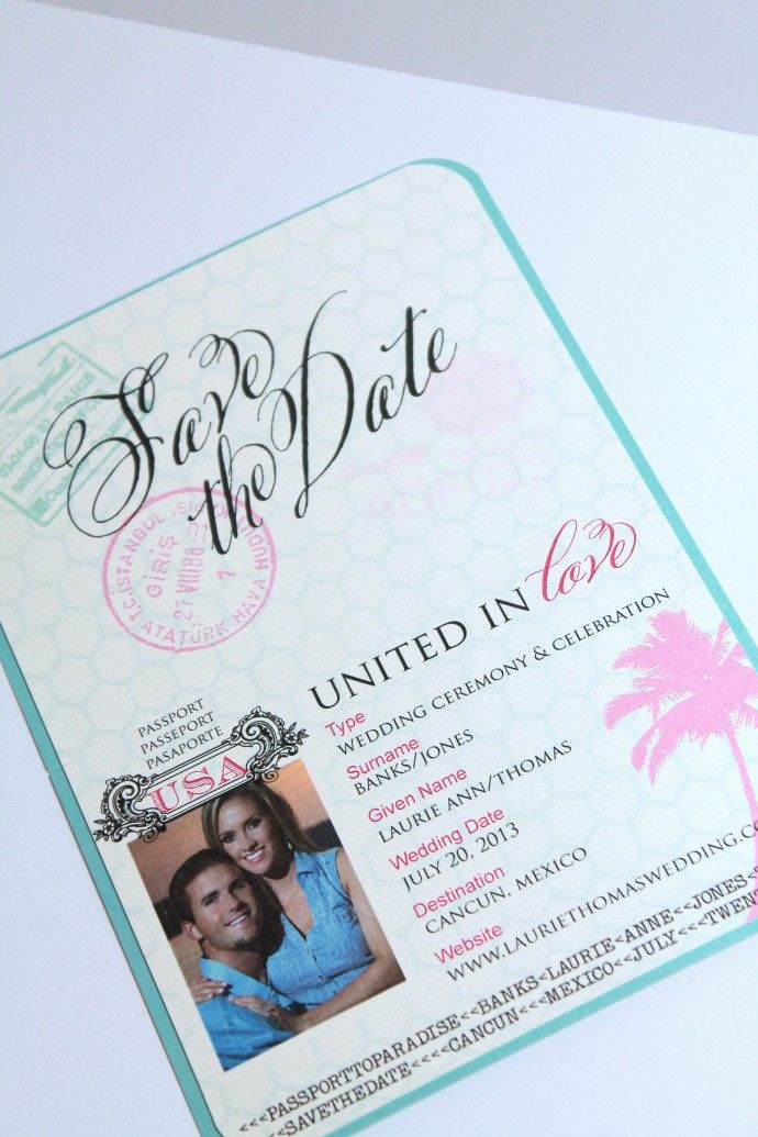 Passport Save The Date for destination, tropical, beach or cruise ...