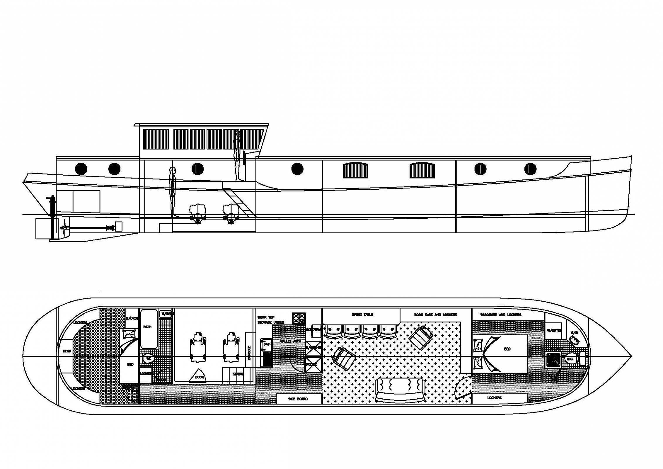 House barge plans escortsea for Boat floor plans