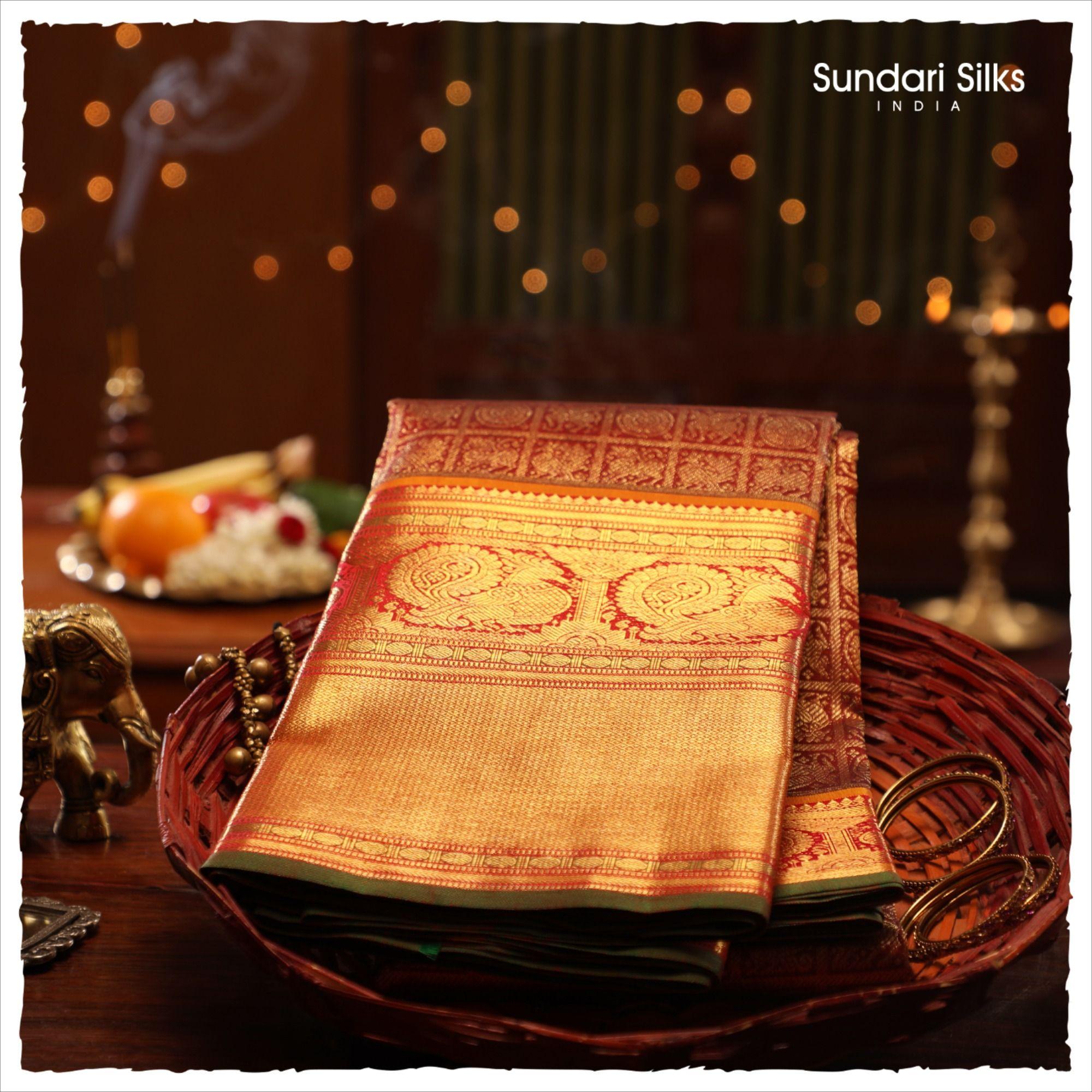 Photo of Gold Zari Kattams Kanchipuram Silks
