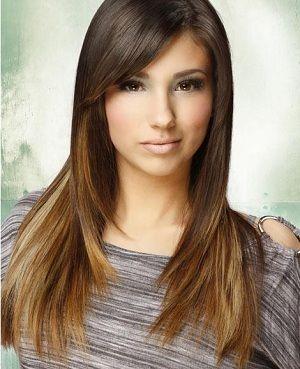 long highlighted ends dark brown hair..