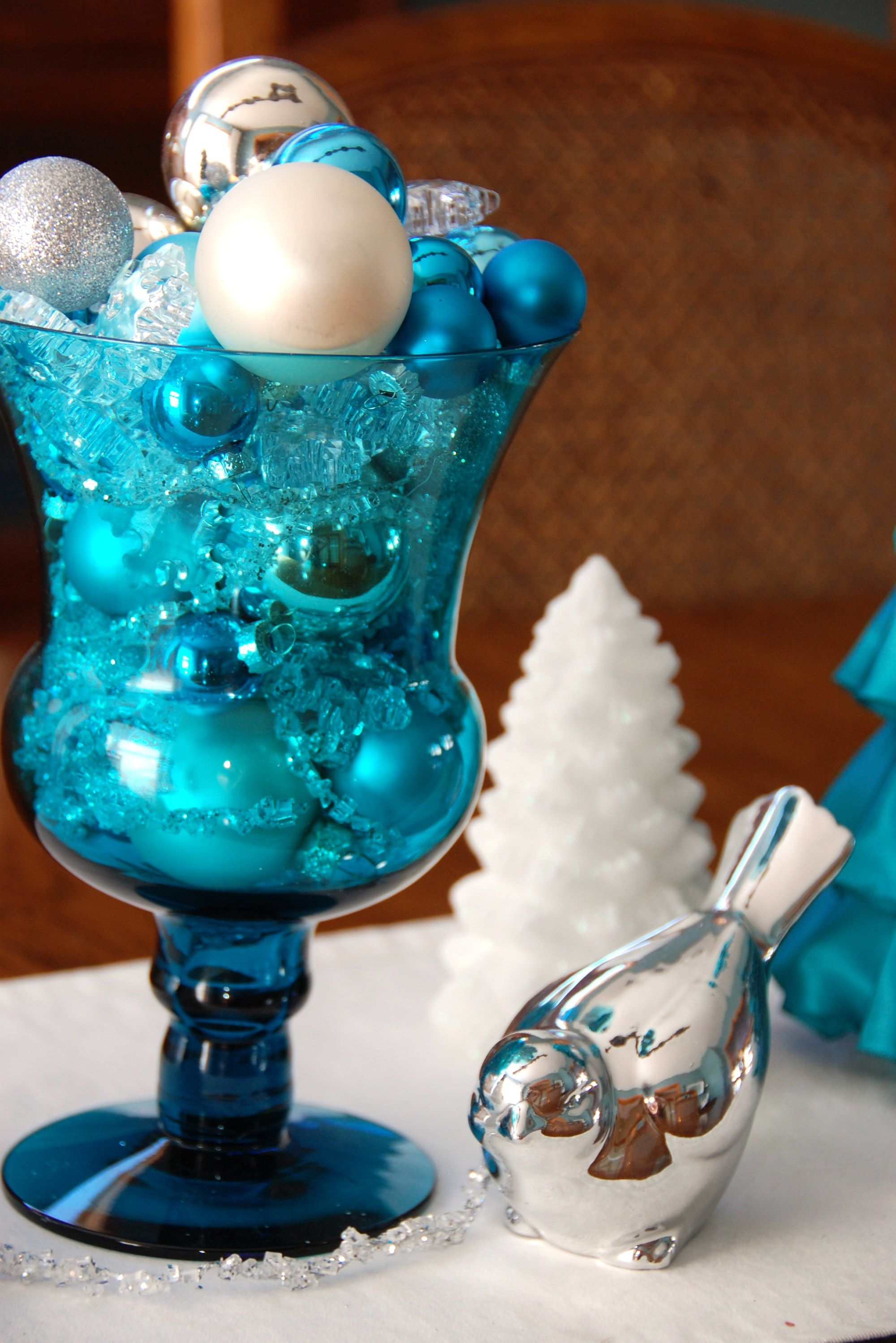 White christmas tree decorations blue - Find This Pin And More On Xmas Centerpiece Blue White Silver Christmas Decorations Color
