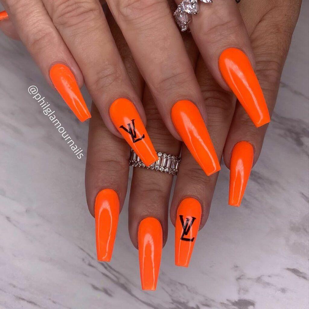 Bright Orange Nail Color And Long Coffin Nail Design On Dark Skin Bright Orange Nails Nail Colors Coffin Nails Long