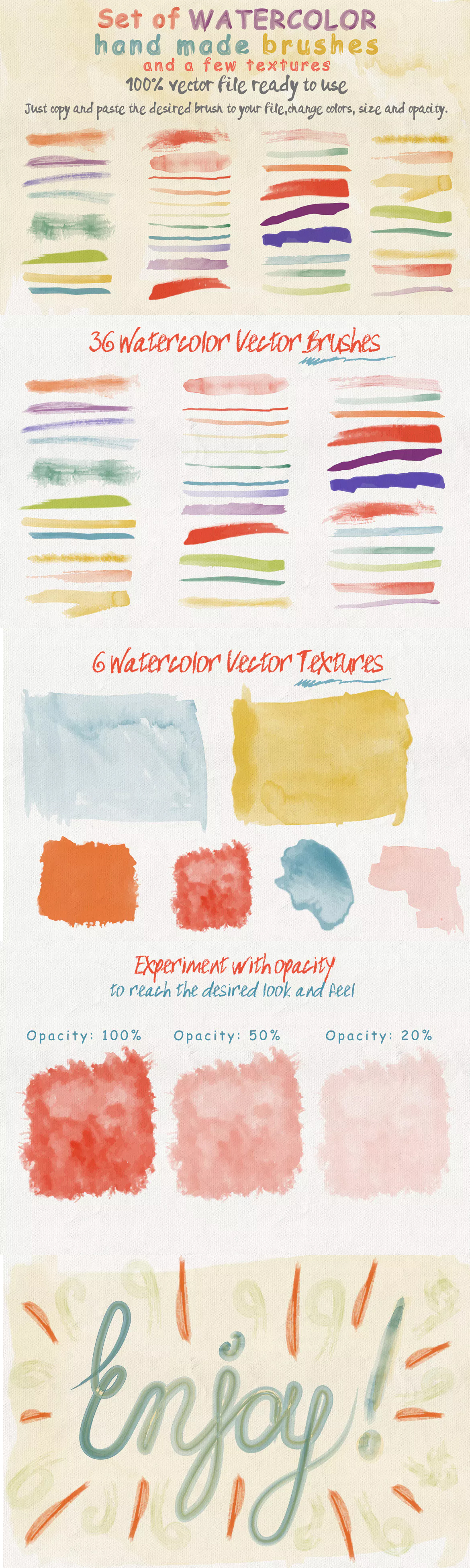 Set Of Watercolor Brushes And Textures Watercolor Brushes