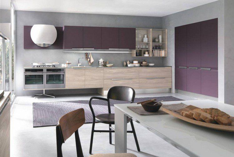 couleur pour cuisine 105 id es de peinture murale et fa ade couleur aubergine fa ade bois. Black Bedroom Furniture Sets. Home Design Ideas