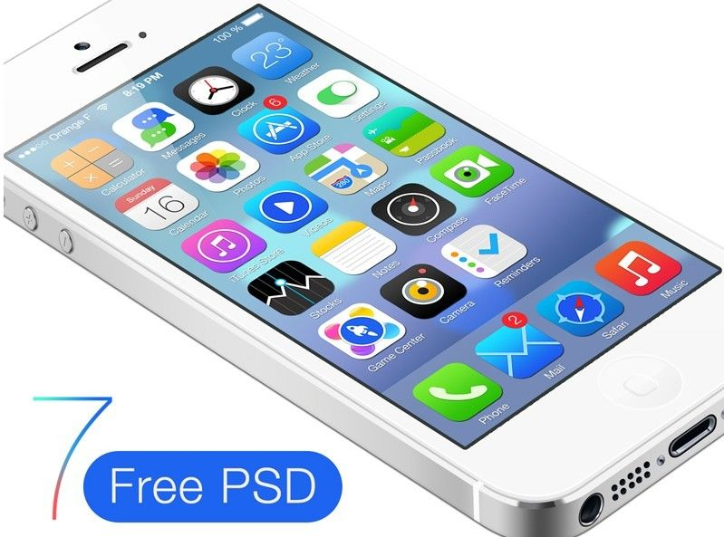 Free White iPhone 5 With iOS 7 GUI PSD | Free Web/Graphic Design
