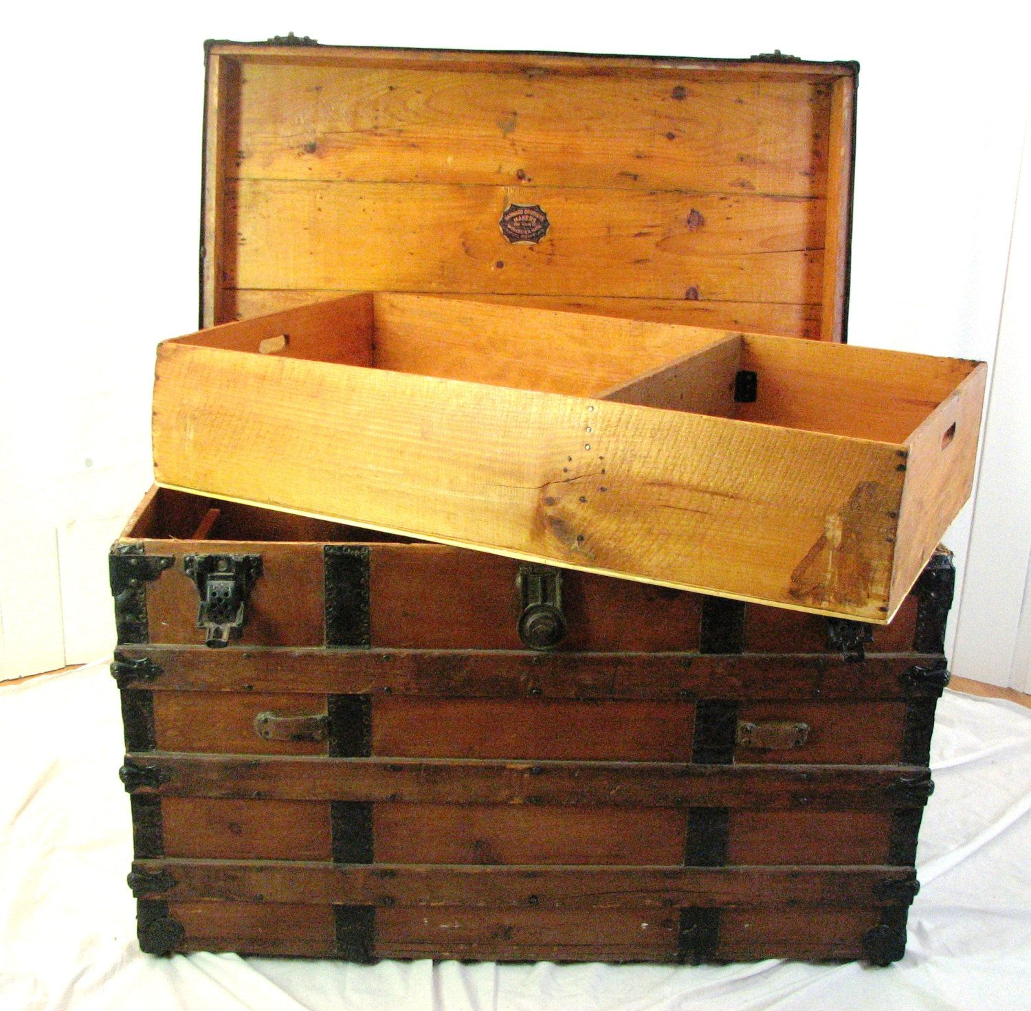 Antique Wooden Trunk Barnard Brothers 1910 – 1915 Vintage
