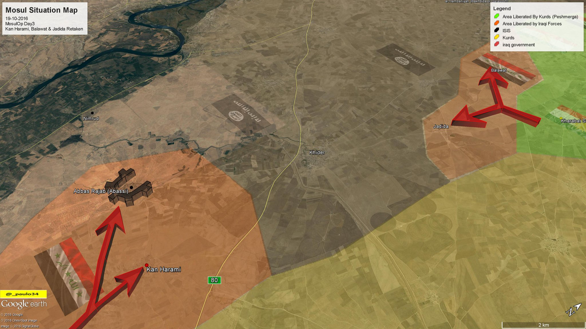 Mosul Situation Map Day3 19 10 2016 Iraq Peshmerga