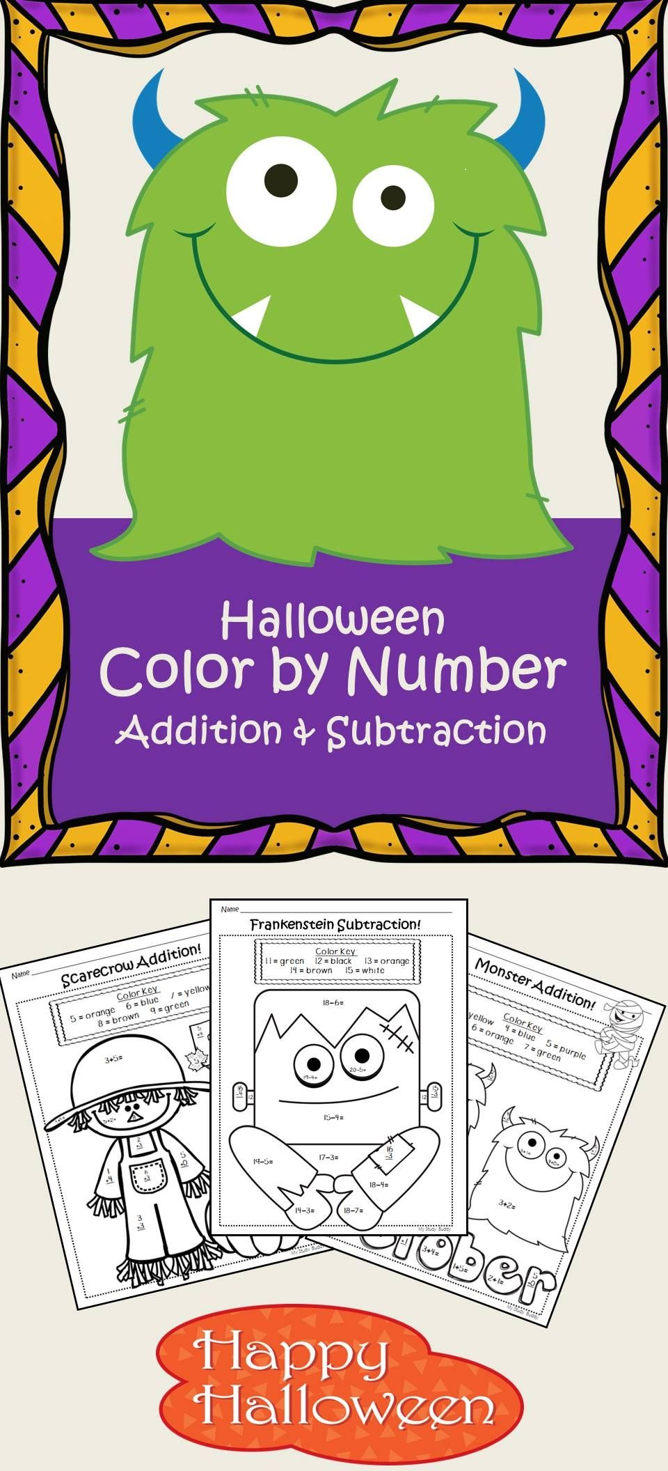 Halloween Math: Color by Number Addition & Subtraction (1st Grade ...