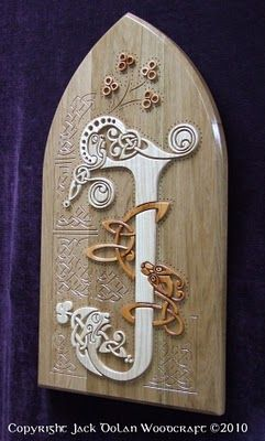 based on Celtic Art, these wondeful wooden wall hangings by Jack Dolan
