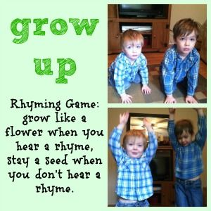 Rhyming game that is great for Spring gardening/ planting unit