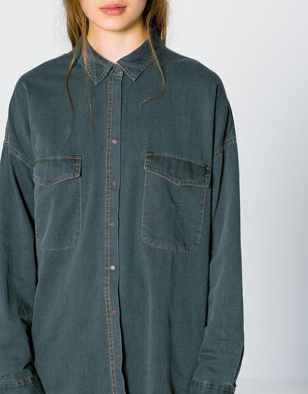 Oversize Denim Gomlek Kampanyalar Kadin Pull Bear Turkiye Embroidered Denim Embroidered Denim Jacket Button Up Shirts
