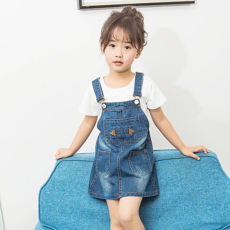 9f808e7383cac Cute Children Girls Denim Dress Overalls dress 2017 Summer Casual ...