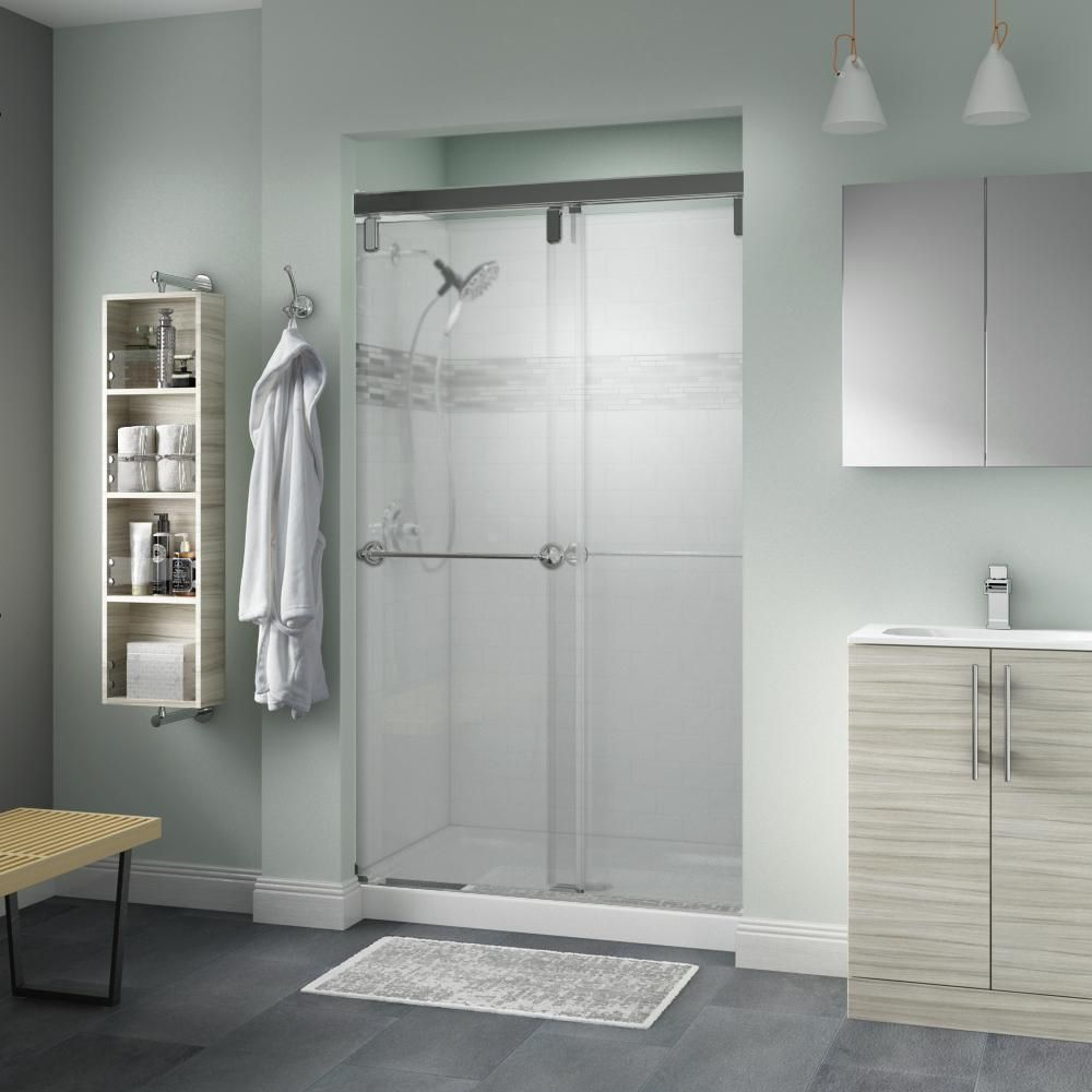 Delta Silverton 48 In X 71 1 2 In Semi Frameless Mod Sliding Shower Door In Chrome With 1 4 In 6mm Niebla Glass Shower Doors Tub Shower Doors Shower Door Handles