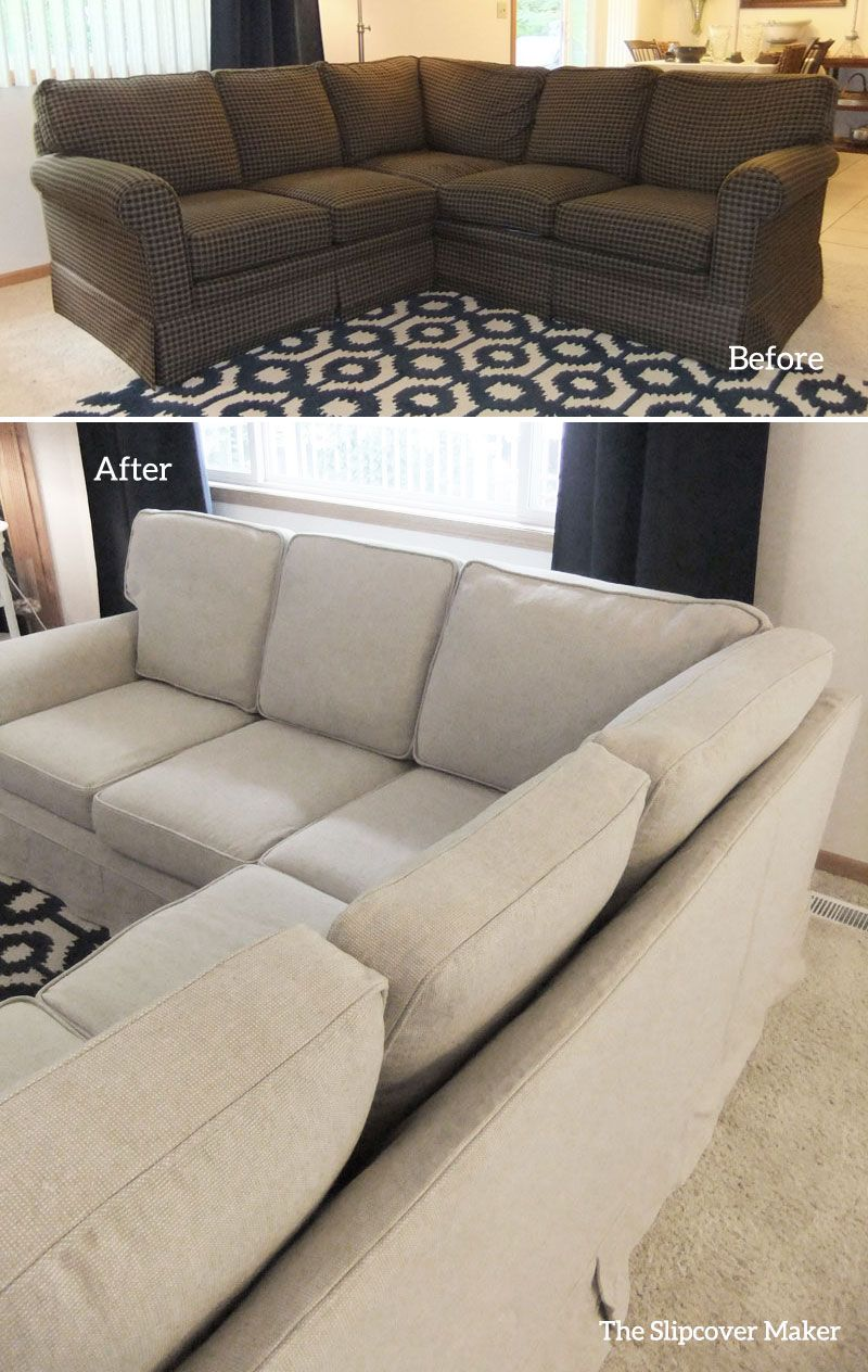 Linen Cotton Slipcover Custom Made For A Family Room Sectional Love The Style Update Sectional Slipcover Sectional Sofa Slipcovers Sectional Couch Cover