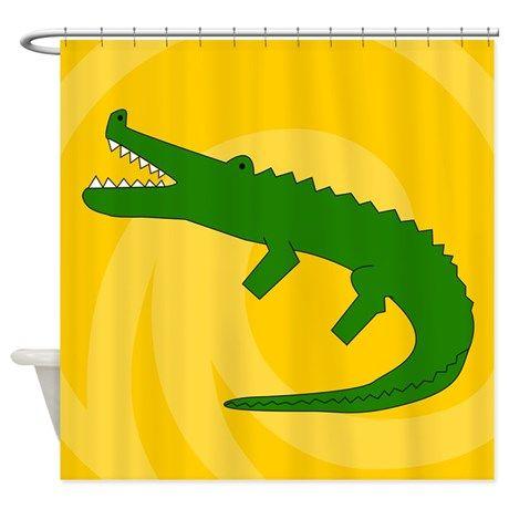 Alligator Shower Curtain By Wavehound Shower Rod Shower Curtains