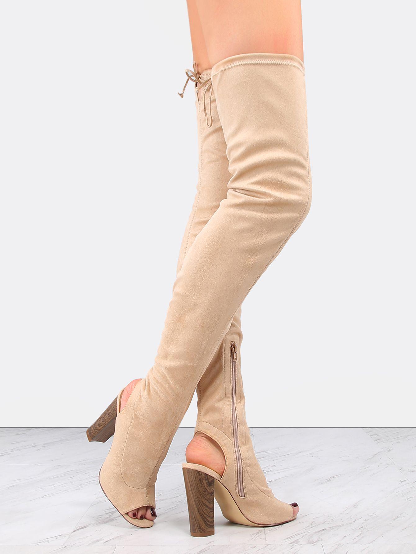#AdoreWe #SheIn Boots - SheIn Heel Cut Out Suede Thigh Boots NUDE - AdoreWe.com