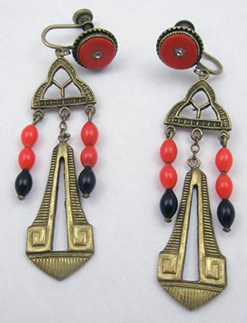 Art Deco Brass Earrings - Garden Party Collection Vintage Jewelry/ love art deco