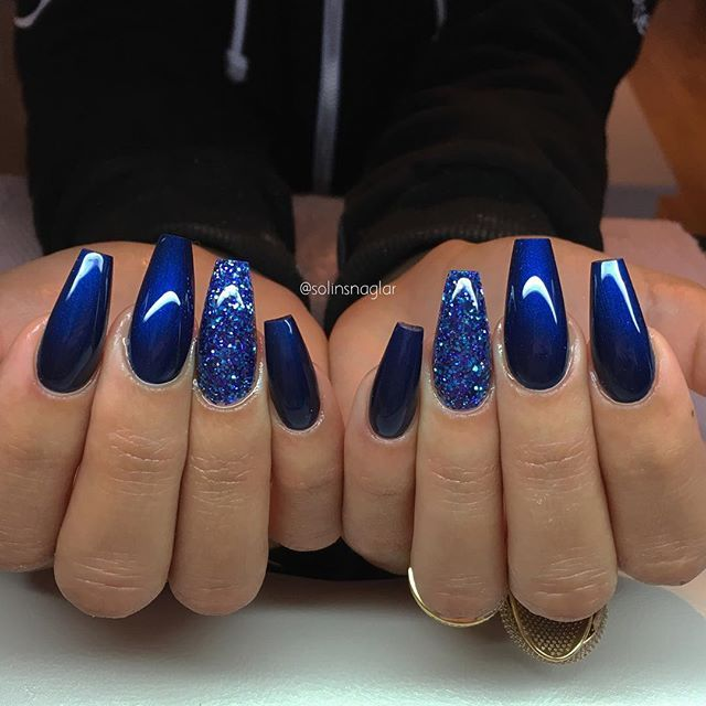 Midnight Blue Med Blatt Glitter Blue Glitter Nails Blue