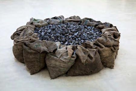 JANNIS KOUNELLIS Description Untitled 1968 Juta bags, coal