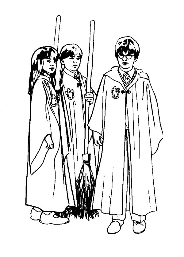 Harry Potter And His Best Friends Coloring Page Netart Harry Potter Coloring Pages Harry Potter Coloring Book Harry Potter Colors