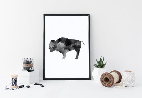Buffalo Watercolor Print https://www.etsy.com/listing/386658722/buffalo-print-buffalo-art-buffalo-wall