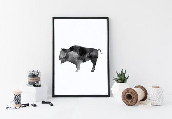 Buffalo Watercolor Print https://www.etsy.com/listing/386658722/buffalo-print-buffalo-art-buffalo-wall