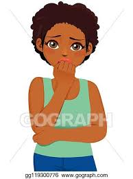 Vector Art Black Girl Scared Expression Clipart Drawing Gg119300776 Gograph Black Girl Clip Art Vector Art