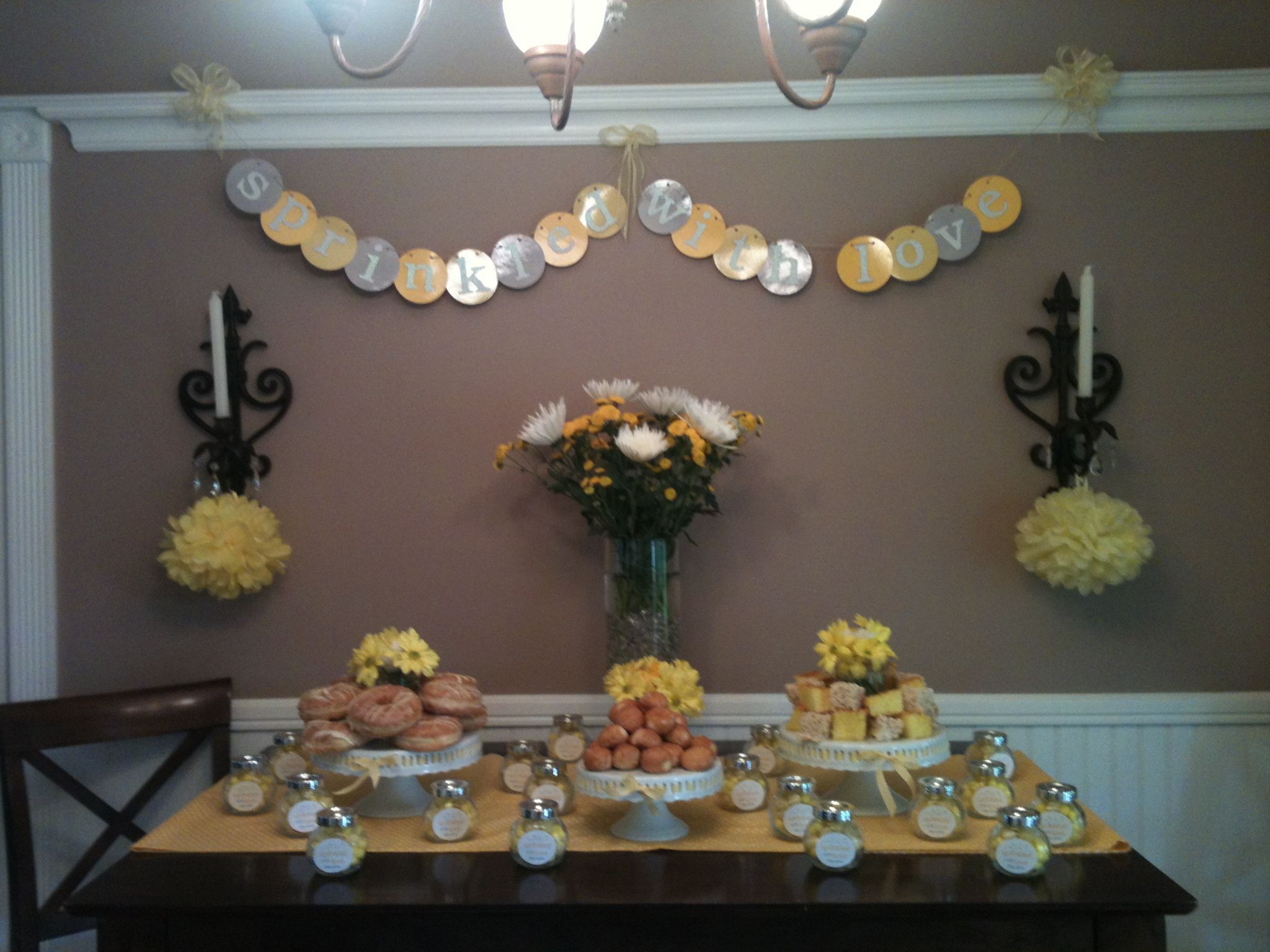 My sister's Sprinkle party. Party for the 3rd kid and we didn't know if it was a boy or girl!  Yellow and grey for the sprinkle baby shower