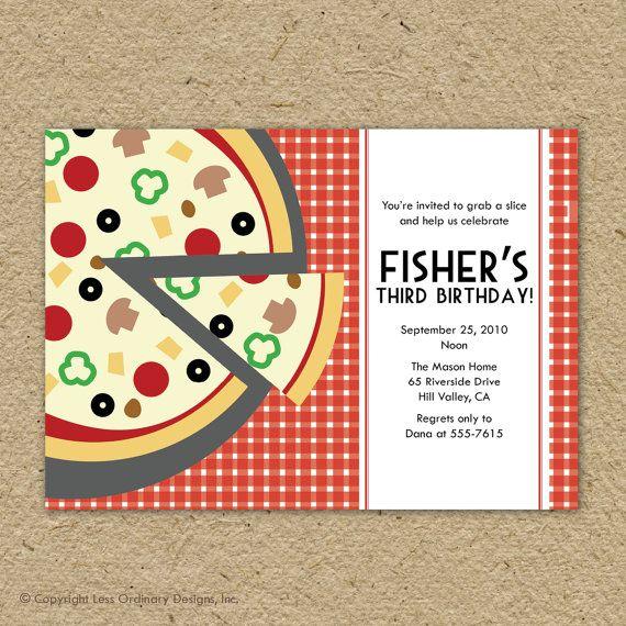 birthday pizza party invitation pizza pizza by saralukecreative, Party invitations