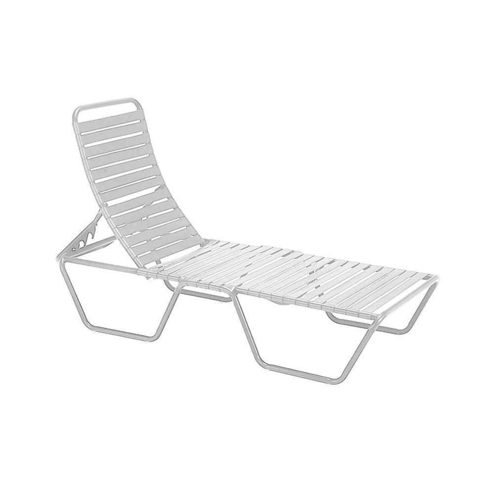 Tradewinds Milan White Commercial Patio Chaise Lounge Patio