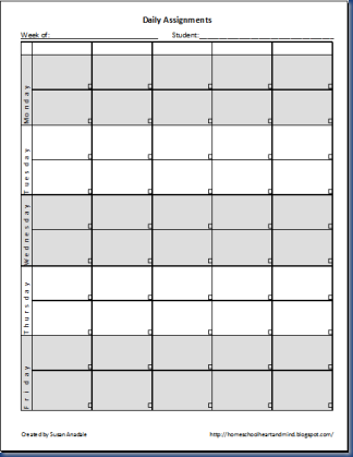 Free Daily Assignment Printable Assignment Sheet Notebook Planner Assignments