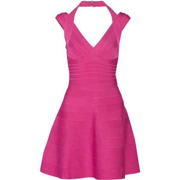 Hervé Léger Rebekka bandage mini dress (1,400 BAM) ❤ liked on Polyvore featuring dresses, fuchsia, pink dress, skater skirt, herve leger dress, pink skater skirt and loose dress