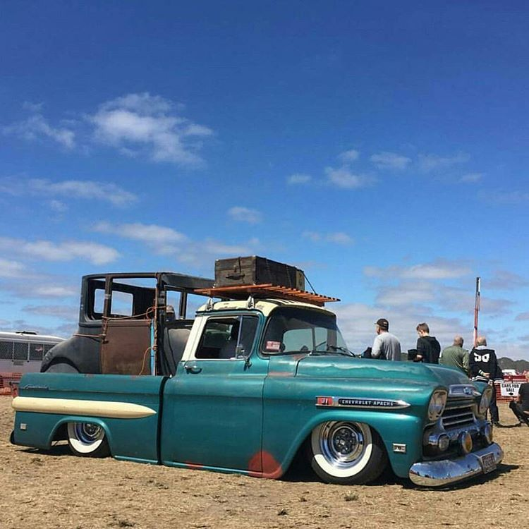 Laid Out 59 Chevy Short Fleet On A Set Of Wide Whites Digging The Roof Rack Pic Rodnretrophotogr In 2020 57 Chevy Trucks Classic Pickup Trucks Chevy Pickup Trucks