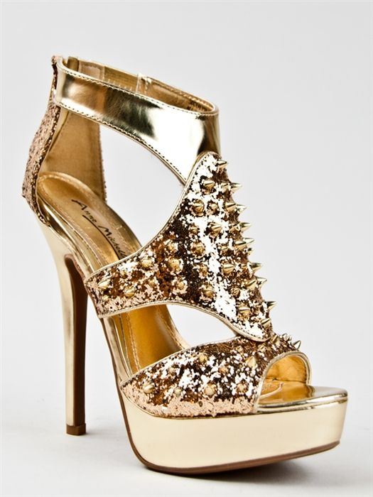 Anne Michelle SOCIALITE-56 Glitter Spike Sandal - can't even handle how gorg these are.