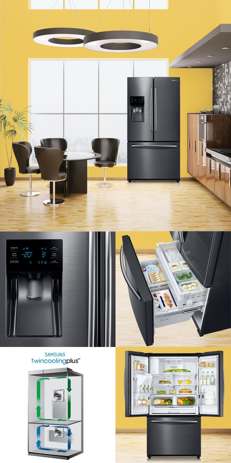 Samsung French Door Refrigerator With Twin Cooling Plus Kitchen Interior French Doors Interior Design Kitchen