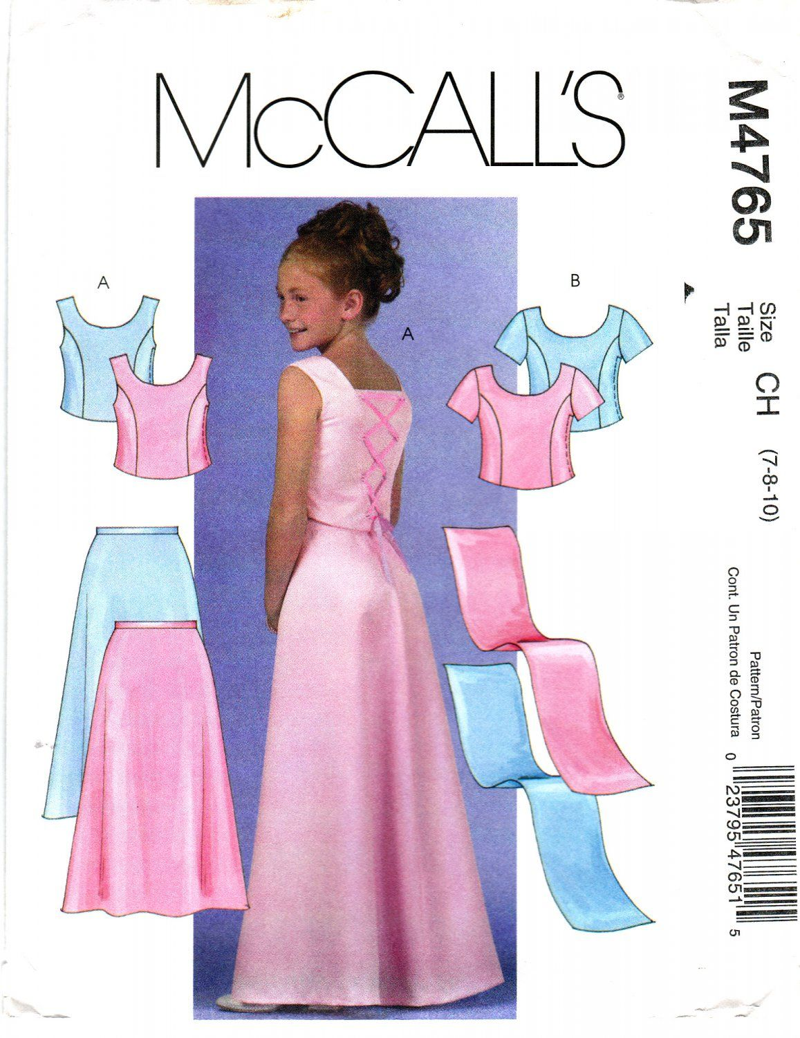 0ef745bc560 McCall s 4765 M4765 Girls Plus Sewing Pattern Childrens Formal Dress Skirt  Top Stole Kid Size 7-8-10 ...