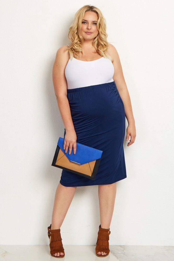 b57a251cdb This fitted plus size maternity pencil skirt is the perfect versatile piece  to style with every look this season. A soft