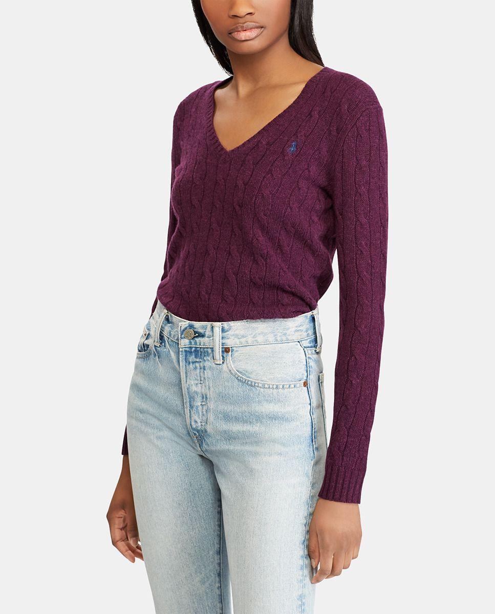 ee120aa4c04b1 Camisola de mulher Polo Ralph Lauren com malha do cabo e decote em bico ·  Moda