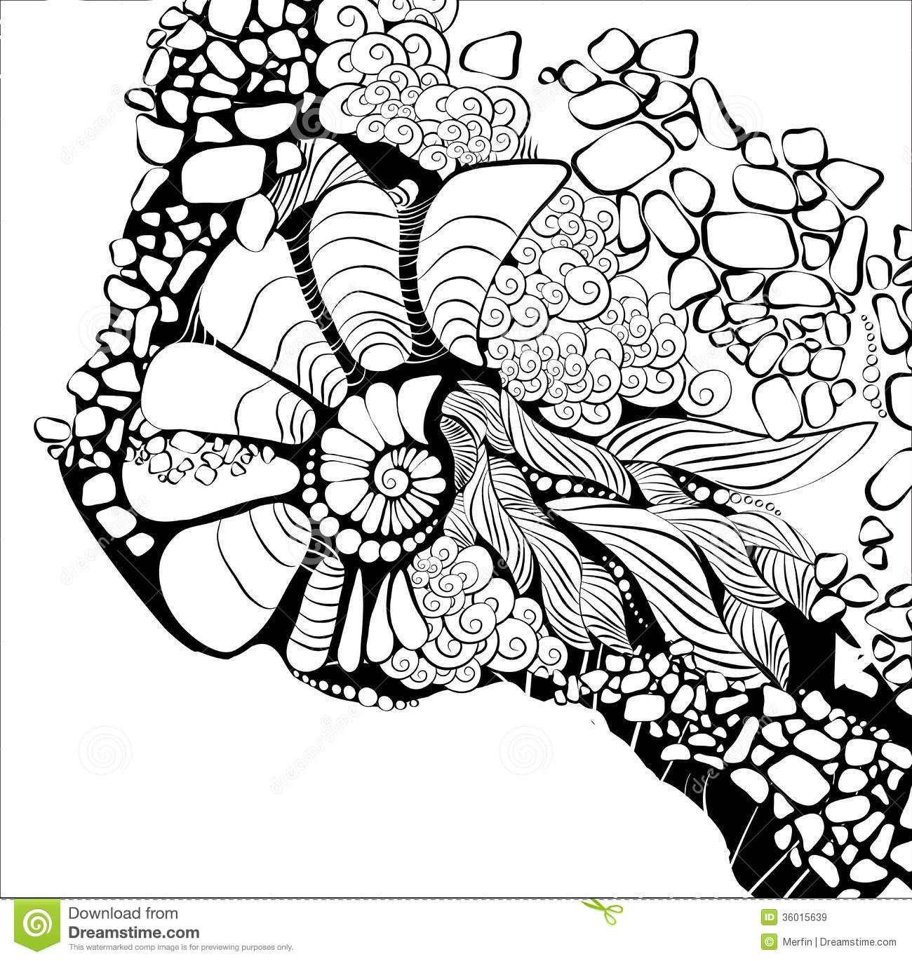 Line Art Abstract : Abstract line drawings design floral