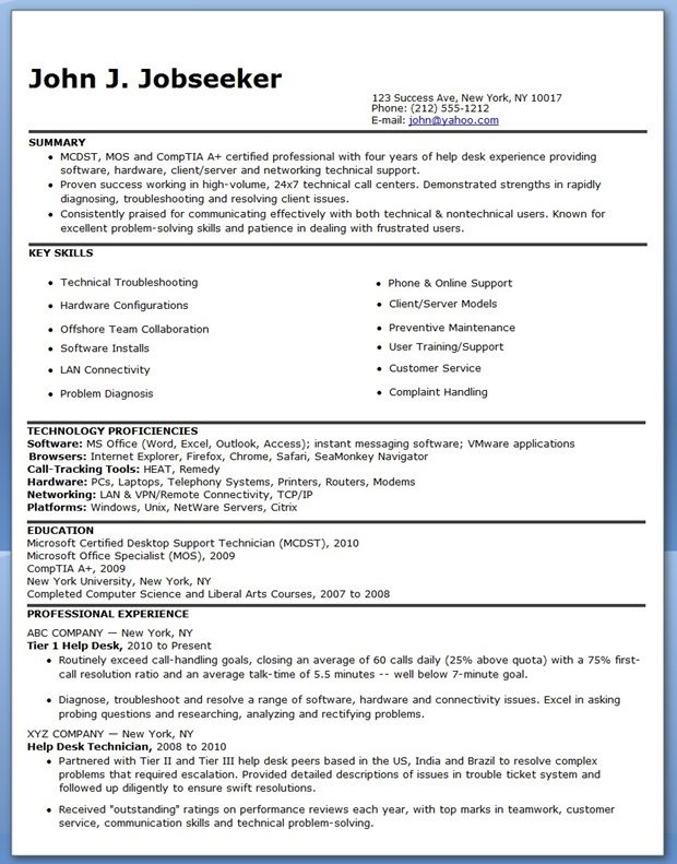 IT Help Desk Resume Sample Creative Resume Design Templates Word - entry level help desk resume
