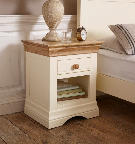 Natural Oak & Painted Bedside Tables - Bedside Table - Country Cottage Range - Oak Furnitureland