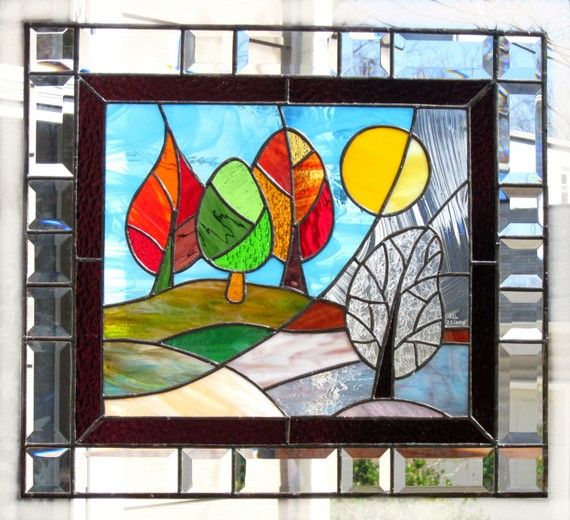 Stained+Glass+Panel+Change+of+Seasons+MADE+TO+by+FleetingStillness,+$475.00
